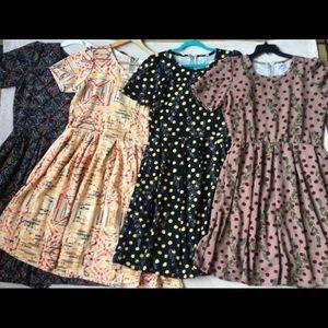 LuLaRoe Amelia Dress, XXXL, 3X, Four Patterns